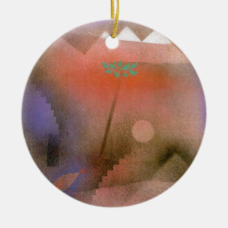 Bird Wandering Off by Paul Klee Double-Sided Ceramic Round Christmas Ornament
