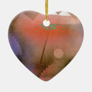 Bird Wandering Off by Paul Klee Double-Sided Heart Ceramic Christmas Ornament