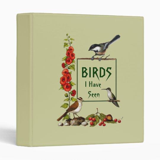 BIRD WATCHER: Chickadee, Hummingbird, Art 3 Ring Binder