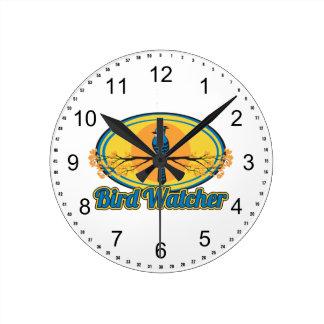 Bird Watcher Round Clock