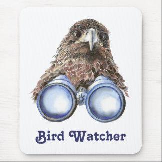 Bird Watcher Watching You Animal Humor watercolor Mouse Pad