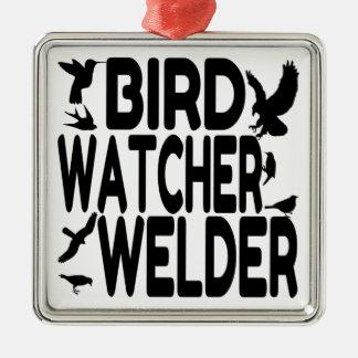 Bird Watcher Welder Metal Ornament