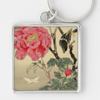 Bird watching a butterfly key chains