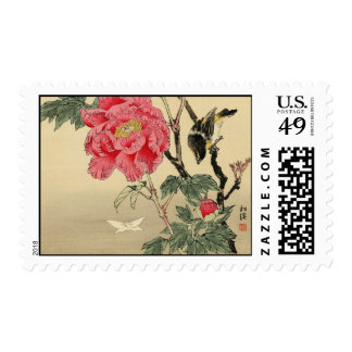 Bird watching a butterfly postage stamps