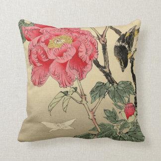 Bird watching a butterfly throw pillow