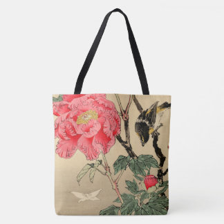 Bird watching a butterfly tote bag