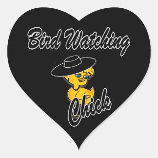 Bird Watching Chick #4 Heart Sticker