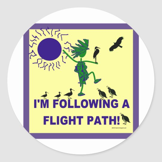 Bird Watching Flight Path Design Classic Round Sticker
