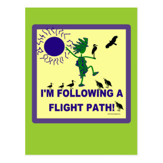 Bird Watching Flight Path Design Postcard