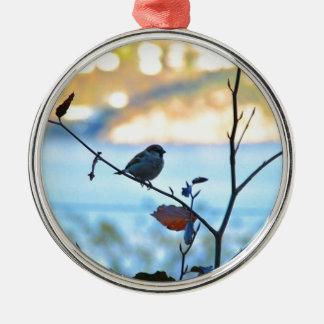 Bird watching metal ornament