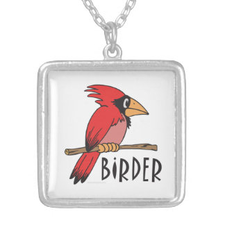 Bird Watching Square Pendant Necklace