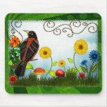 Bird Watching Whimsical Folk Art Mouse Pads