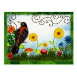 Bird Watching Whimsical Folk Art Postcard