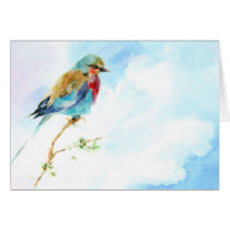 Bird watercolor blank note card. card