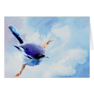 Bird watercolor blank note card. card