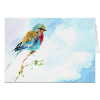 Bird watercolor blank note card. stationery note card