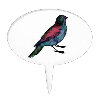 Bird Watercolour Cake Pick