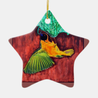 Bird Weaving Nest Ceramic Ornament
