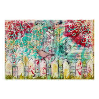 Bird & White Picket Fence Mixed Media Painting Poster