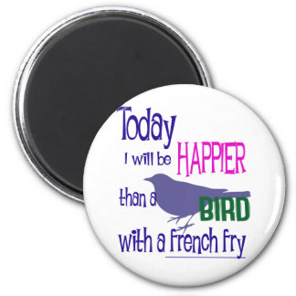 Bird with a french fry 2 inch round magnet