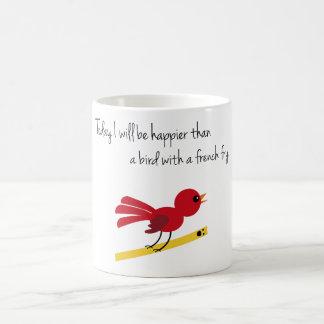 Bird with a french fry coffee mug