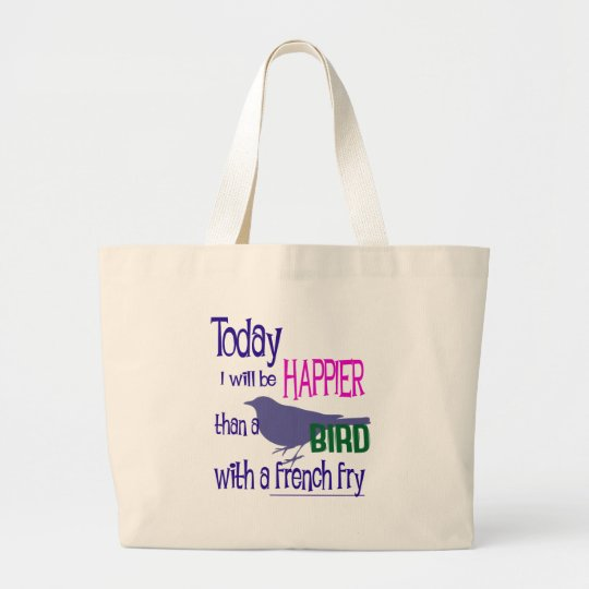 Bird with a french fry large tote bag