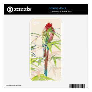 Bird with Bamboo Leaves Decals For The iPhone 4S