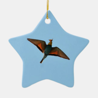 Bird With Butterfly In Beak Double-Sided Star Ceramic Christmas Ornament
