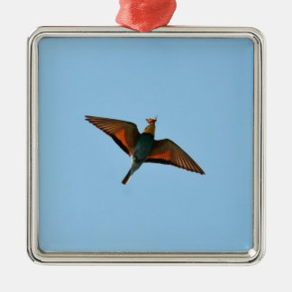 Bird With Butterfly In Beak Square Metal Christmas Ornament