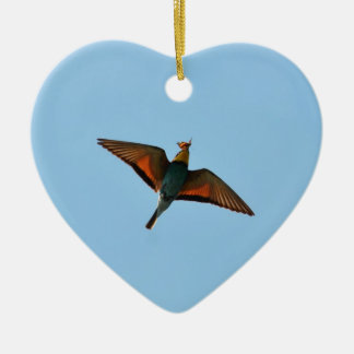 Bird With Butterfly In Beak Double-Sided Heart Ceramic Christmas Ornament