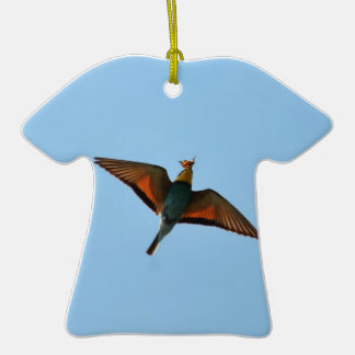 Bird With Butterfly In Beak Double-Sided T-Shirt Ceramic Christmas Ornament