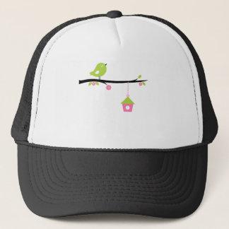 Bird with cage trucker hat