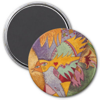 Bird with heart 3 inch round magnet