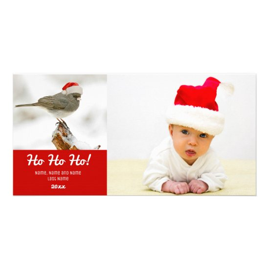 Bird with Red Santa Hat Photo Card