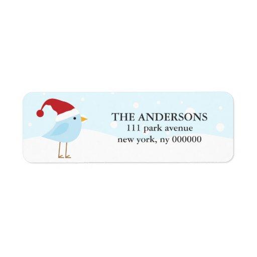 Bird with Santa Hat Labels
