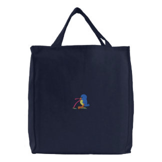 Bird with Worm Embroidered Tote Bag