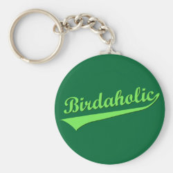 Basic Button Keychain with Birdaholic design