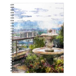 Birdbath and Garden Flowers Art Notebook