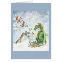 Birdbath Holiday Dragon Card