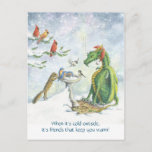 "Birdbath Holiday Dragon postcard<br><div class=""desc"">When it&#39;s cold outside,  it&#39;s friends that keep you warm! A holiday dragon thaws a birdbath for it&#39;s woodland friends.</div>"