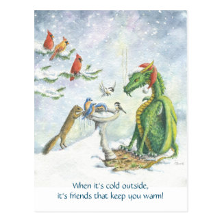 Birdbath Holiday Dragon postcard