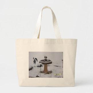 birdbath nevoso del día bolsa tela grande