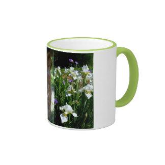 Birdbath statue blue iris ringer mug