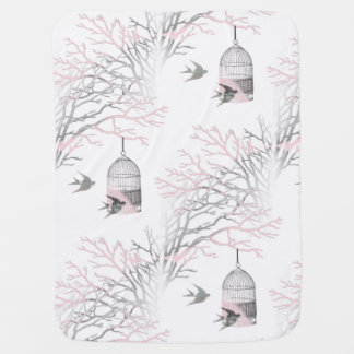 Birdcage Bare Branches Pink Gray Baby Blanket