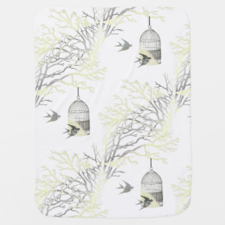 Birdcage Bare Branches Yellow Gray Baby Blanket
