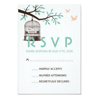 """BirdCage blanco y azul del vintage de la tarjeta Invitación 3.5"""" X 5"""""""