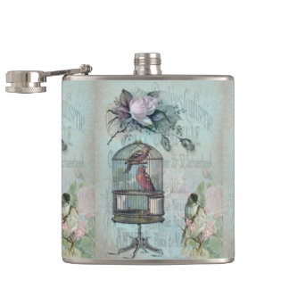 Birdcage Blossom Hip Flask