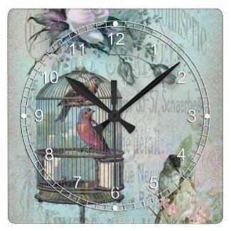 Birdcage Blossom Square Wall Clock