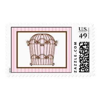 Birdcage de 20 sellos/ligón rosado de la jaula de sello postal