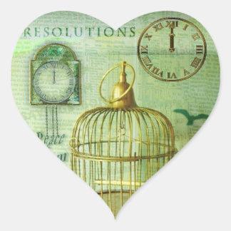 Birdcage de bronce pegatina en forma de corazón